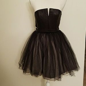 Alice + Olivia Kylie leather and tulle Dress